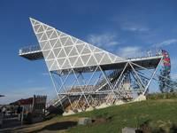 Stahlkonstruktion des Limes Blicks in Öhringen-Cappel von der Seite