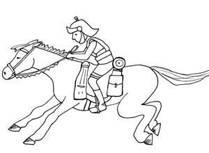 Ein römischer Bote auf einem Pferd reitend ist zu sehen.